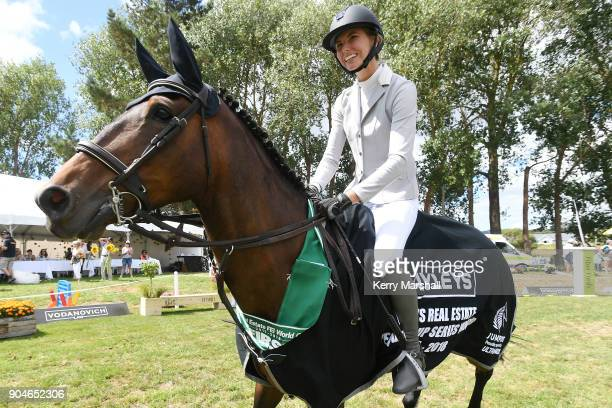 Rose Alfeld rides a victory lap after winning the FEI NZ World Cup League overall on January 14 2018 in Auckland New Zealand