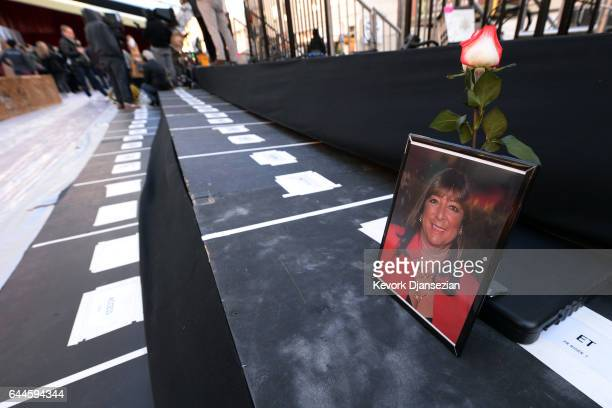 A rose and a photograph are placed on the red carpet press risers in memory of Bonnie Tiegel Entertainment Tonight Senior Producer who passed on...
