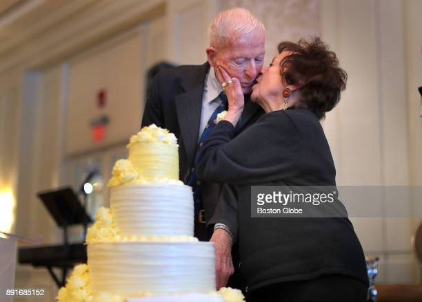 Rose and Frank Murphy who have been married for 66 years kiss after cutting the ceremonial anniversary cake during the annual Boston Elderly...