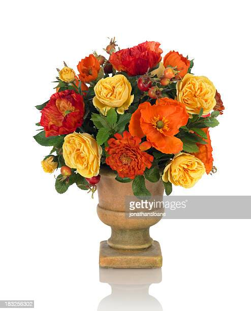 Rose and Poppy Bouquet on white background