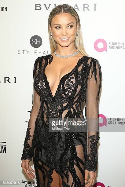 Rose Bertram arrives at the 24th Annual Elton John AIDS Foundation's Oscar viewing party held at West Hollywood Park on February 28 2016 in West...