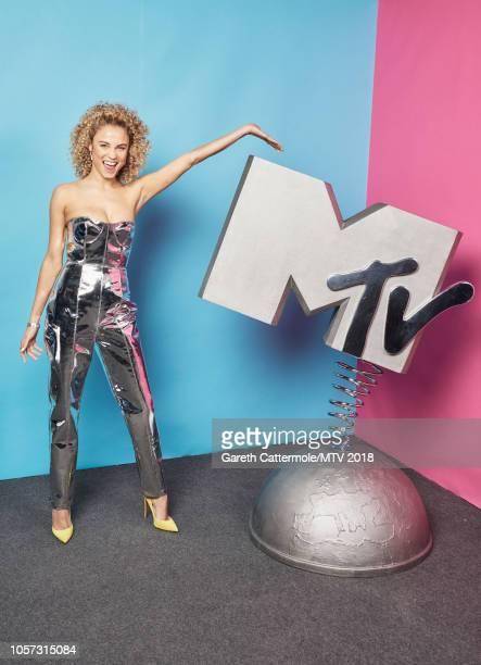 Rose Bertram poses at the MTV EMAs 2018 studio at Bilbao Exhibition Centre on November 4 2018 in Bilbao Spain