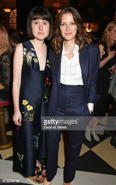 Rose Blake and Natalie Frost attend a preopening dinner hosted by Kate Bryan at Zobler's Delicatessen at The Ned London on April 25 2017 in London...