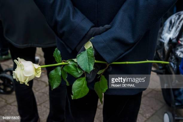 Rose blanche en témoignage de soutien des habitants lors de la marche blanche en hommage à AnneLaure Moreno victime d'un chauffard le 3 décembre 2016...