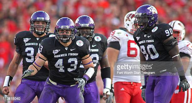 Rose Bowl Defensive Player Of The Game Texas Christian University linebacker Tank Carder reacts after sacking Wisconsin Badgers quarterback Scott...