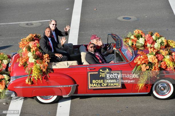Rose Bowl Hall of Fame inductees Lynn Swann Lloyd H Carr and Orlando Pace attend the 125th Tournament of Roses Parade Presented by Honda on January 1...