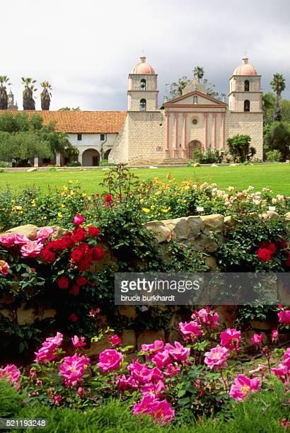 rose bushes outside of santa barbara mission - mission santa barbara stock pictures, royalty-free photos & images