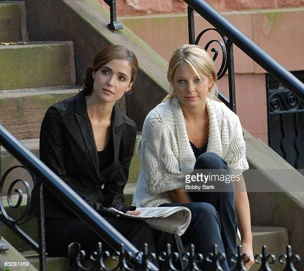 Rose Byrne and Anastasia Griffith on location for 'Damages' on the streets of Brooklyn on October 2 2008 in New York City