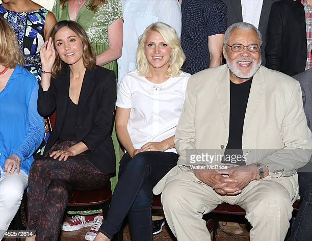 Rose Byrne and Annaleigh Ashford and James Earl Jones attend the 'You Can't Take It With You' press preview at The New 42nd Street Studios on July 23...