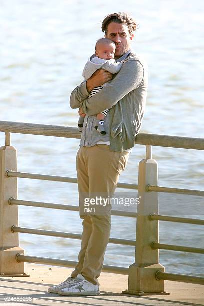 Rose Byrne and Bobby Cannavale take their three month old son Rocco Cannavale to the park on April 23 2016 in New York City