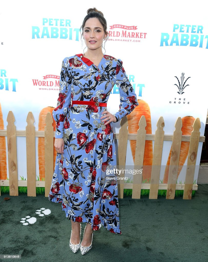 Rose Byrne arrives at the Premiere Of Columbia Pictures' 'Peter Rabbit' at The Grove on February 3, 2018 in Los Angeles, California.