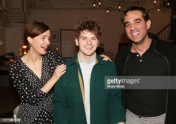 "Rose Byrne, Colton Ryan and Bobby Cannavale pose backstage at the hit Bob Dylan musical ""Girl from The North Country"" on Broadway at The Belasco..."