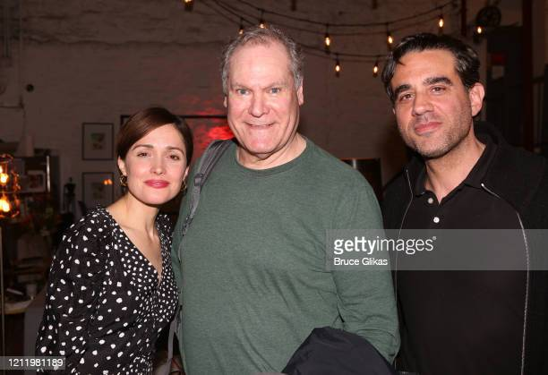 "Rose Byrne, Jay O Sanders and Bobby Cannavale pose backstage at the hit Bob Dylan musical ""Girl from The North Country"" on Broadway at The Belasco..."