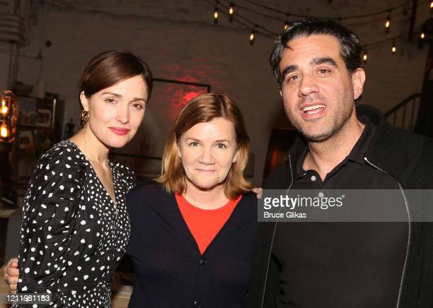 "Rose Byrne, Mare Winningham and Bobby Cannavale pose backstage at the hit Bob Dylan musical ""Girl from The North Country"" on Broadway at The Belasco..."