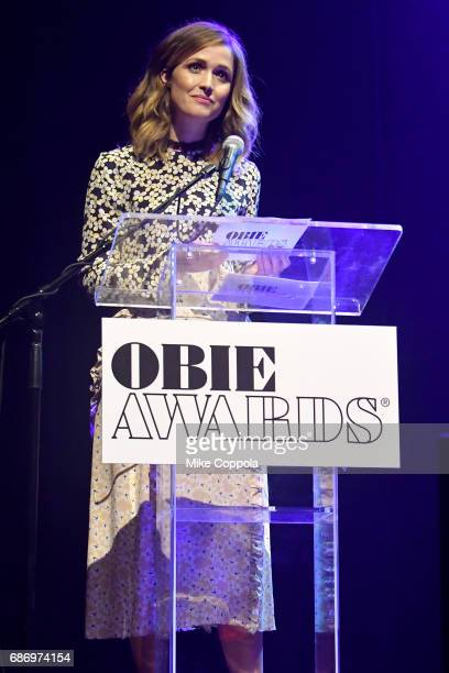 Rose Byrne speaks on stage during the 2017 Obie Awards at Webster Hall on May 22 2017 in New York City