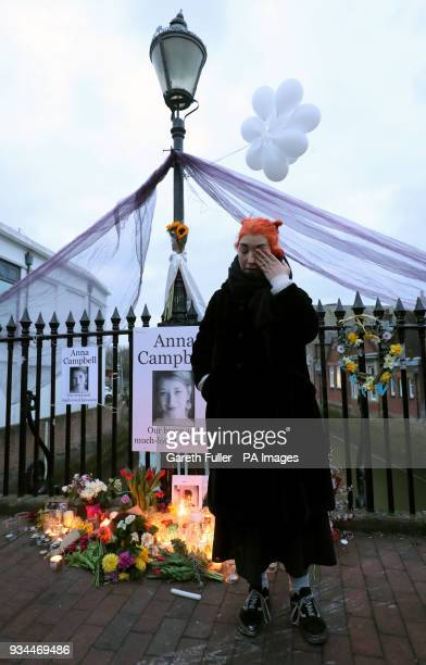 Rose Campbell sister of Anna Campbell speaks at a vigil in her home town of Lewes East Sussex as the British woman who died fighting with a Kurdish...