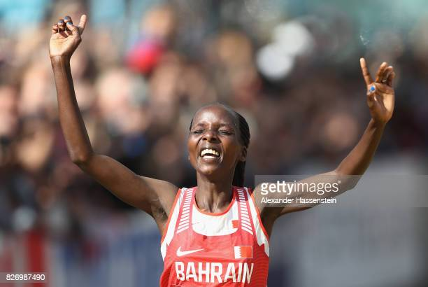 Rose Chelimo of Bahrain celebrates as she wins the Women's Marathon during day three of the 16th IAAF World Athletics Championships London 2017 at...