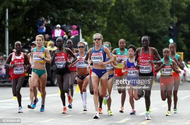 Rose Chelimo of Bahrain Jessica Trengove of Australia Flomena Cheyech Daniel of Kenya Amy Cragg of the United States and Edna Ngeringwony Kiplagat of...