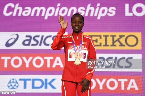 Rose Chelimo of Bahrain poses with the gold medal for the Women's Marathon during day three of the 16th IAAF World Athletics Championships London...