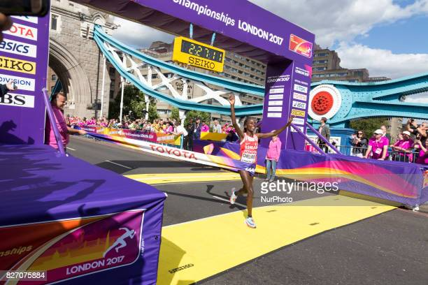Rose Chelimo won IAAF World Championships Women Marathon in London UK on August 6 2017 42 kilometre run took place in most picturesque streets of...
