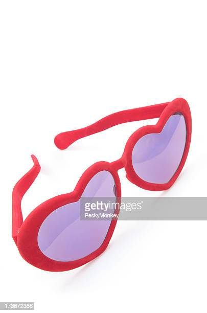 Rose Colored Heart Shaped Glasses White Background