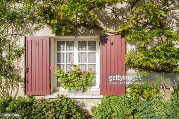 a rose covered window in chedigny, france. - chedigny photos et images de collection