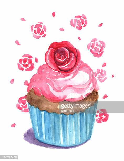 rose cup cake illustration