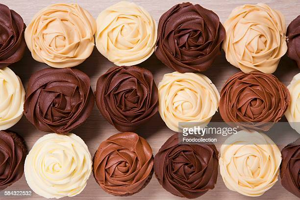 Rose cupcakes with brown frosting