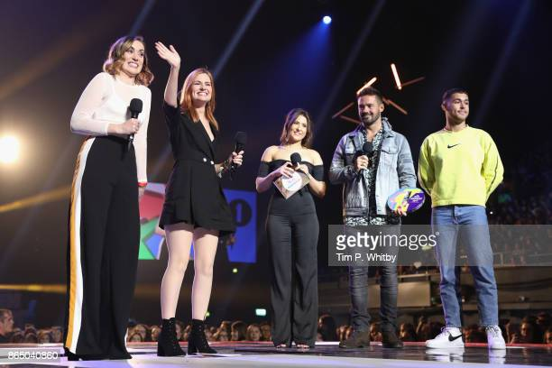 Rose Ellen Dix and Roseanne Spaughton aka Rose and Rosie are presented with the award for Best British Vlogger by Jasmine Armfield Spencer Matthews...