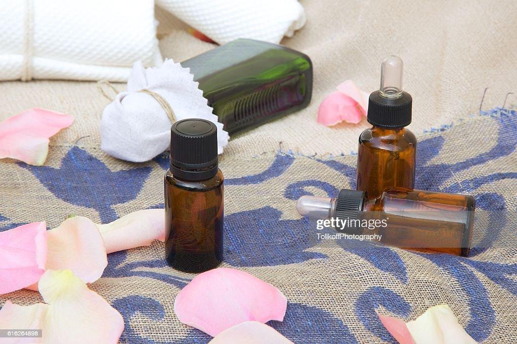 Rose essential oil : Stock Photo