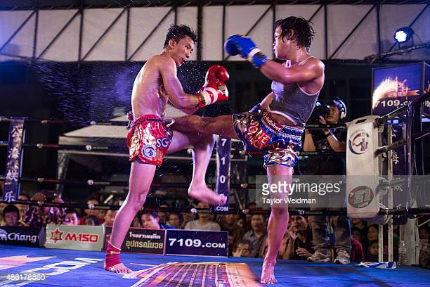 Rose fights an opponent during the night's 150 lb headline fight on September 11 2015 in Bangkok Thailand Somros Rose Pholjaroen is a transgender...