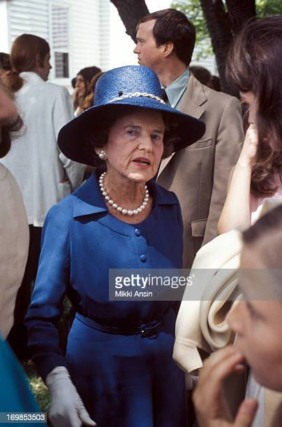 Rose Fitzgerald Kennedy attends the graduation of her granddaughter Caroline Kennedy from Concord Academy, Concord, Massachusetts, 5th June 1975.