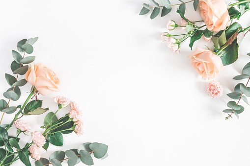Rose flowers and eucalyptus branches. Flat lay, top view 951847770