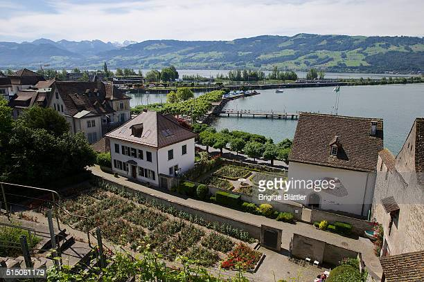 Rose Garden in Rapperswil Schlossberg and Einsiedlerhaus Lake of Zurich Obersee Swiss Alps and the Seedamm in the background