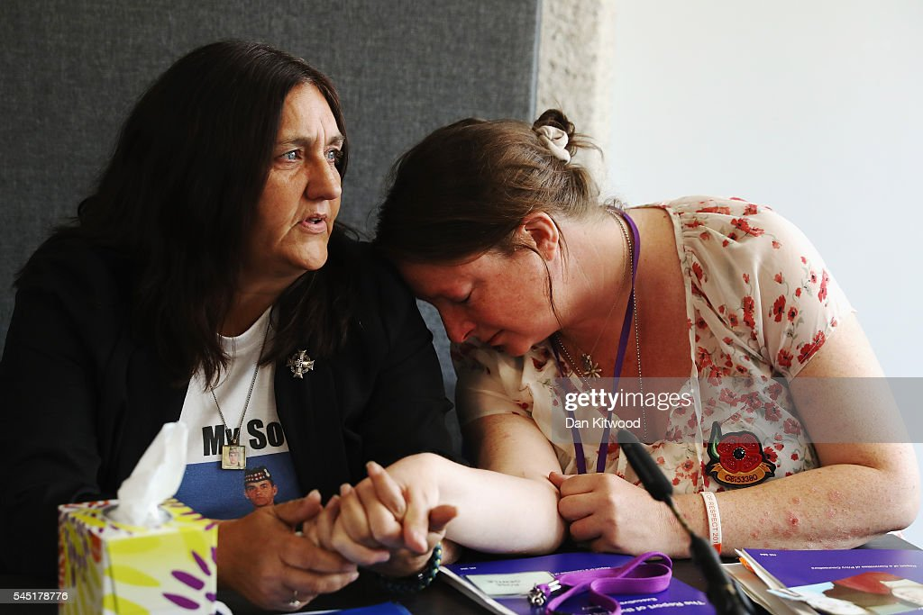 Rose Gentle and Sarah O'Connor, attend a news conference held by relatives of military personnel killed during the Iraq War after listening to Sir John Chilcot present The Iraq Inquiry Report at the Queen Elizabeth II Centre in Westminster on July 6, 2016 in London, England. The Iraq Inquiry Report into the UK government's involvement in the 2003 Iraq War under the leadership of Tony Blair is published today. The inquiry, which concluded in February 2011, was announced by then Prime Minister Gordon Brown in 2009 and is published more than seven years later.