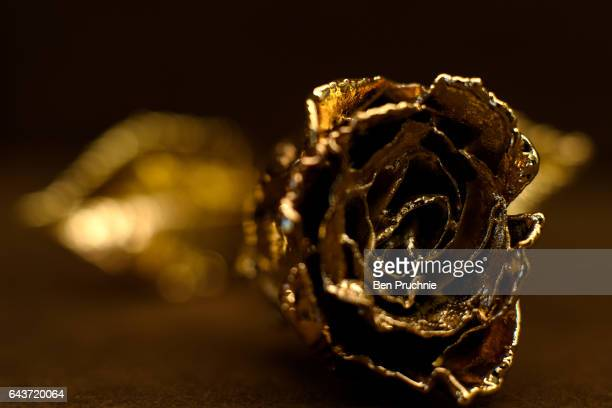 A rose gift piece with the value of 100 GDP is displayed at Sharps Pixley Bullion Brokers on December 15 2015 in London England The brand established...
