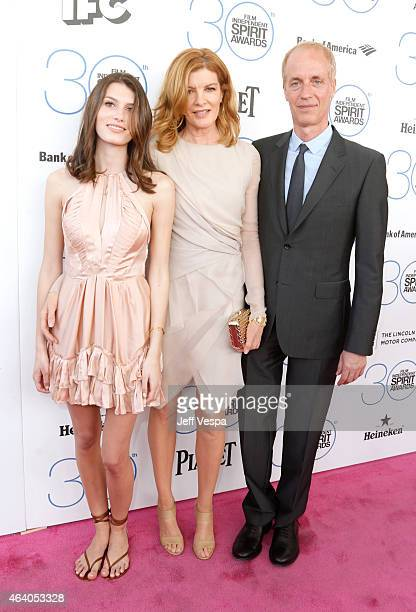 Rose Gilroy actress Rene Russo and writerdirector Dan Gilroy attend the 2015 Film Independent Spirit Awards at Santa Monica Beach on February 21 2015...
