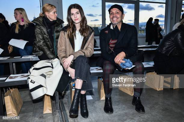 Rose Gilroy and Mark Martinez attend front row of Zero Maria Cornejo runway show during New York Fashion Week at Pier 59 on February 13 2017 in New...