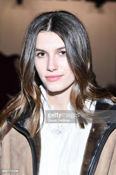 Rose Gilroy attends front row of Zero Maria Cornejo runway show during New York Fashion Week at Pier 59 on February 13 2017 in New York City