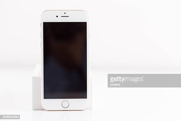 Rose Gold iPhone 6S Isolated on White with Blank Screen