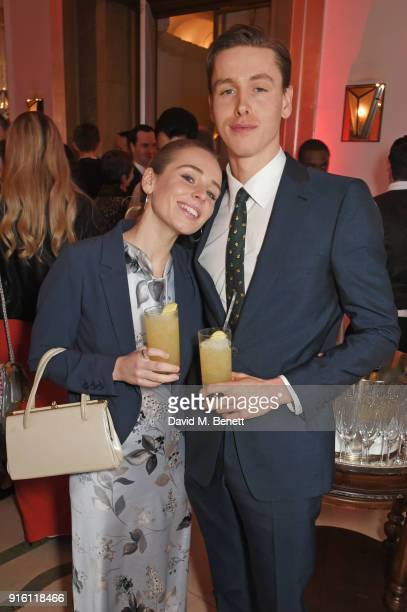 Rose Gray and Harris Dickinson attend a drinks reception at the London Evening Standard British Film Awards 2018 at Claridge's Hotel on February 8...