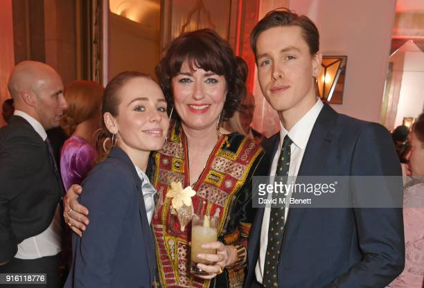 Rose Gray Anna Chancellor and Harris Dickinson attend a drinks reception at the London Evening Standard British Film Awards 2018 at Claridge's Hotel...