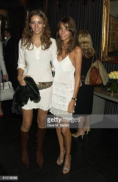 Rose Hanbury and Marina Hanbury attend the Tatler Magazine's Summer Party at Baglioni Hotel July 1 2004 in Kensington London England