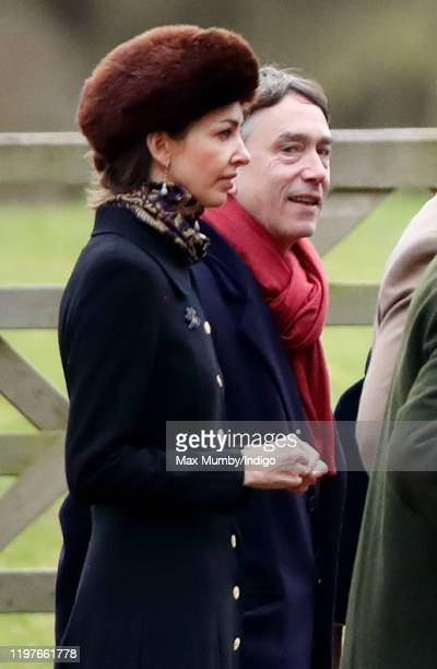 Rose Hanbury Marchioness of Cholmondeley and David Cholmondeley Marquess of Cholmondeley attend Sunday service at the Church of St Mary Magdalene on...