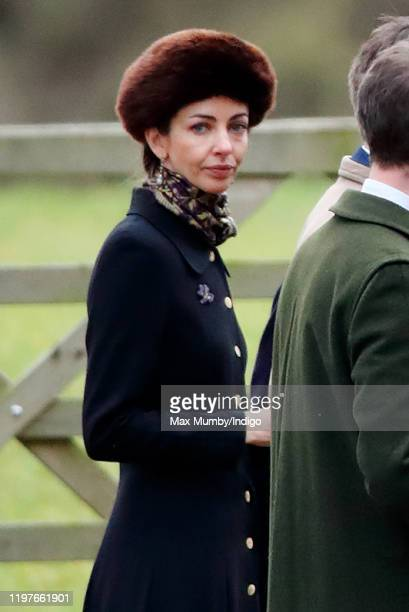 Rose Hanbury Marchioness of Cholmondeley attends Sunday service at the Church of St Mary Magdalene on the Sandringham estate on January 5 2020 in...
