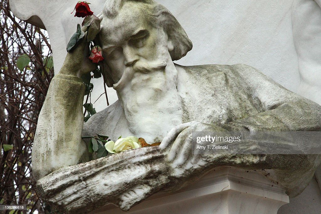 A rose hangs from the bust of composer Johannes Brahms (1833 - 1897) above his grave in the Zentralfriedhof cemetery in the Musiker area of Vienna, 17th November 2010. Composers Johann Strauss II, Franz Schubert and Ludwig van Beethoven are also buried in the Zentralfriedhof.
