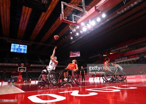Rose Hollermann of Team United States shoots against Sonia Ruiz Escribano of Team Spain during the Women's Wheelchair basketball Preliminary Round...