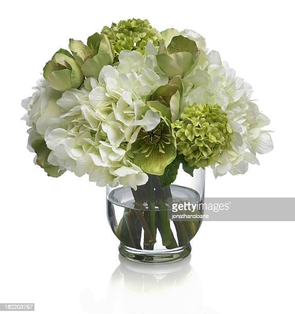 Rose, Hydrangea and Hellebore bouquet on white background