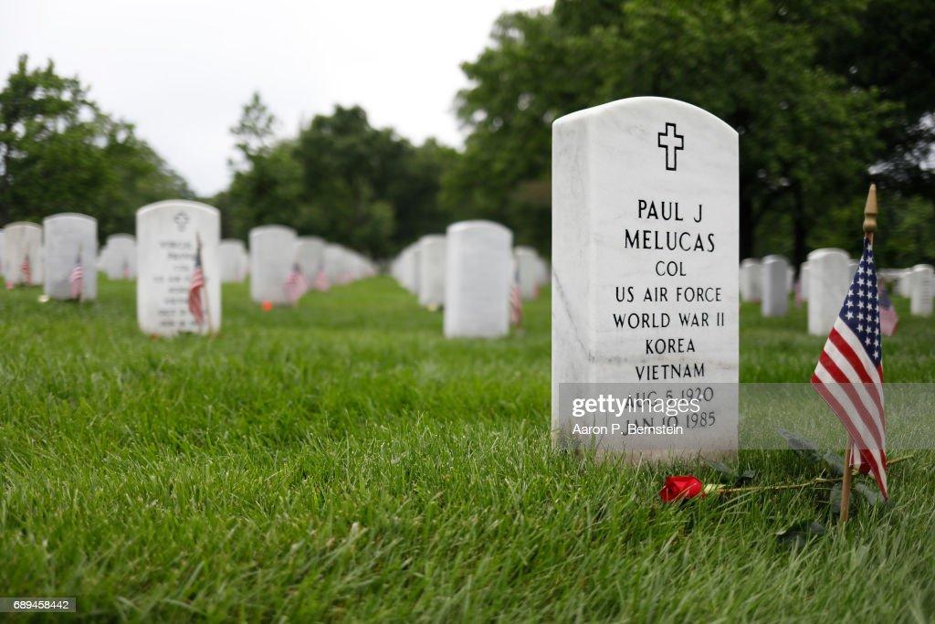 Volunteers Place Roses At Headstones At Arlington Cemetery Ahead Of Memorial Day : ニュース写真
