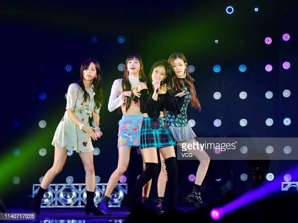 Rose Jennie Lisa and Jisoo of girl group BLACKPINK perform on the stage during the 26th Tokyo Girls Collection at Yokohama Arena on March 31 2018 in...